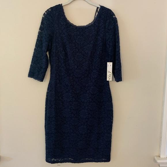 NWT Eliza J Navy Lace Bodycon Quarter Sleeve Dress